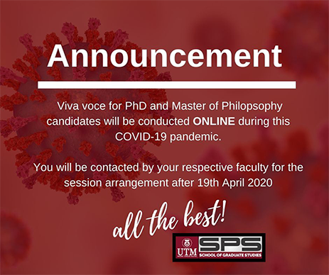Online viva voce for PhD and Master by Research candidates during COVID-19 pandemic